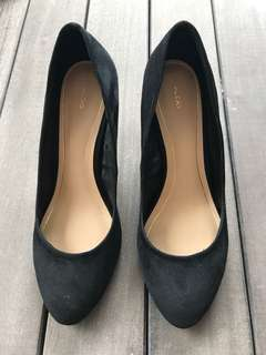 Aldo black suede wedge shoes