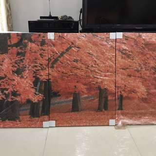 3 Panel Maple Leaves Printed Artwork Mounted on Canvas