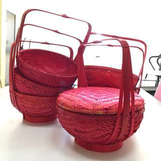 9 pcs Red baskets with cover