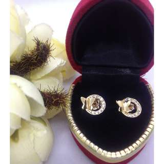 Authentic Bangkok Gold 10k Saudi Gold Round Butterfly Stud Earrings with Zirconia Stones Non Tarnish (Not Pawnable)