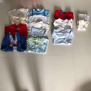[Preloved] (0-12M) Baby Boy Clothings In Bundle