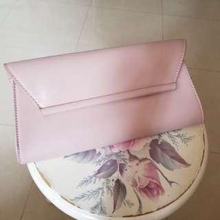 ZARA pink clutch 兩用bag