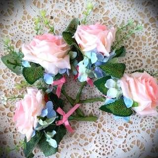 (4個襟花) 絲花襟花婚禮兄弟 wedding flowers grooms
