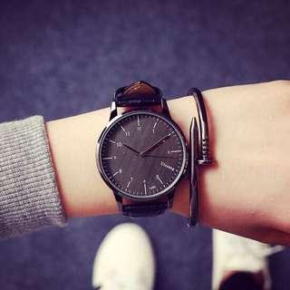 全新黑色復古大錶盤手錶