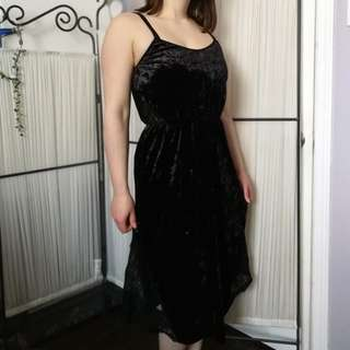 Beautiful Black Velour Dress with Lace Accents S