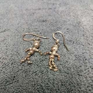 Rare 925 Silver Movable Body Boys Earrings 罕有925純銀身體可動男仔耳環