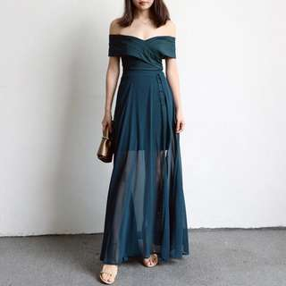 Solid Coloured Korean Style Mesh Chiffon Strapless Dress