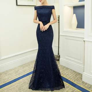 Navy off shoulder dress / Evening Gown
