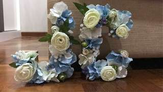 Customized Artificial Flower Initials