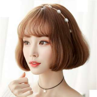 Korean Air Fringe Short Bob Full Wig For Daily Use (Bold Pink/Ash Grey/Dark Brown/Natural Black)