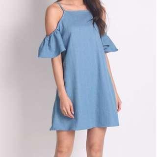 Denim cold shoulder babydoll dress