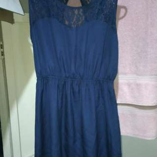 Laced Navy Blue Dress