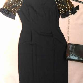 Black and gold 1980's vintage dress