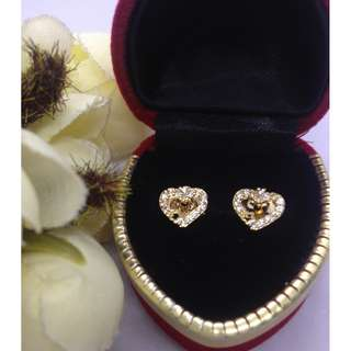 Authentic Bangkok Gold 10k Saudi Gold Lovely Heart Stud Earrings with Zirconia Stones Non Tarnish (Not Pawnable)