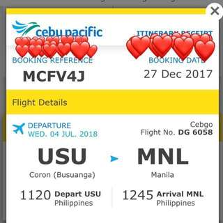 Airline Ticket - Coron to Manila One Way