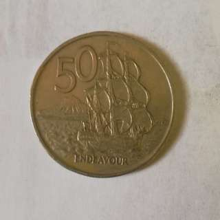 New Zealand 1975 50¢ coin