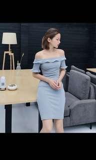 Off shoulder powder blue dress