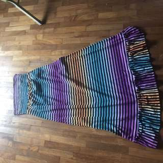 Multi coloured rainbow like dress purple turquoise