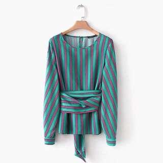 🔥Inspired Zara Green Stripes Belt Trim Shirt Long Sleeve