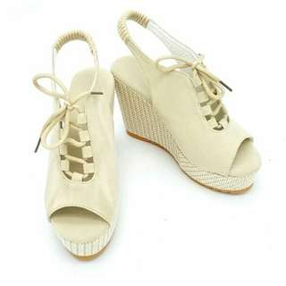 Velcro Open Toe Lace Up wedges