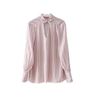 🔥Europe Butterfly Knot Stripe Long Sleeve Shirt  Blouse