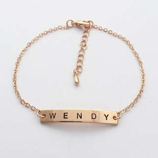 "BL045- Personalised Name Bracelet with ""WENDY"" Shiny Rose Gold Plated Name Plate - Made To Order -Max 7 Alphabets - Only Capital Letters"