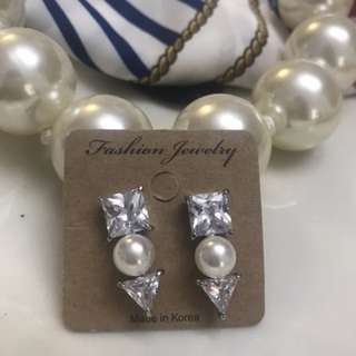 Made in Korea Faux Pearl and Diamond Earrings