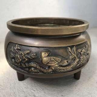 🚚 老厚銅花鳥浮雕香爐 重1313公克