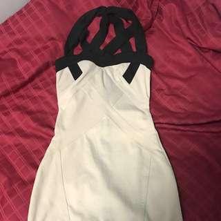 Beige Crossback Bodycon Bandage Dress