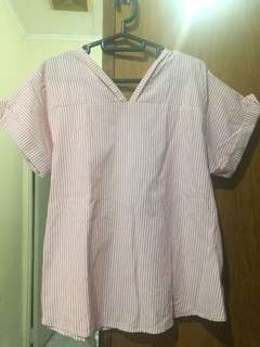 baby pink stripes blouse