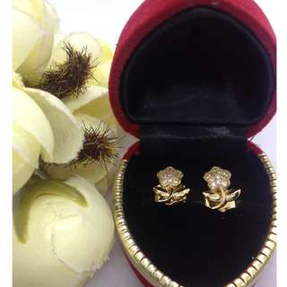 Authentic Bangkok Gold 10k Saudi Gold Flower Rose Stud Earrings with Zirconia Stones Non Tarnish (Not Pawnable)