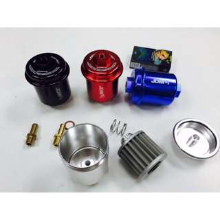 JDM Sport  Universal  Billet racing  High Flow Fuel Filter with washable filter Red Color model 37028.