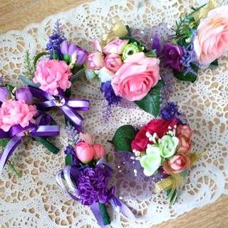 (雜款襟花6個) 絲花襟花紫色系列 婚禮 兄弟 wedding flower grooms
