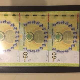 Malaysia 60th Anniversary Bank Notes (Uncut 3 In 1)
