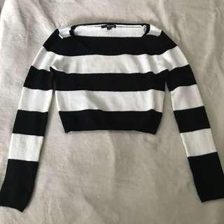 Tally Weijl Crop Sweater Stripped black white