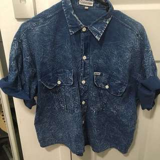 Vintage Calvin Klein Distressed Denim Shirt