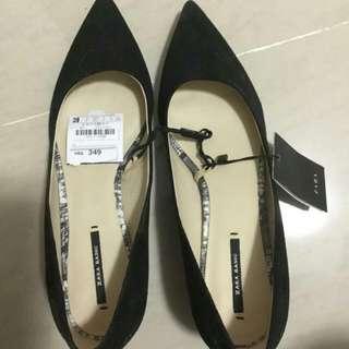 全新zara絨面女裝一吋黑色高跟鞋