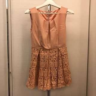 正韓粉色系無袖洋裝