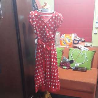 Cute polkadot red long dress