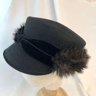 Ca4la 日本品牌毛毛蝴蝶結造型報童帽
