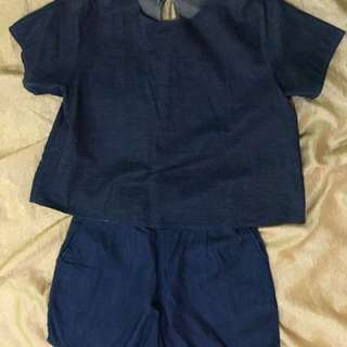 Crop Top and Shorts Terno (Blue)