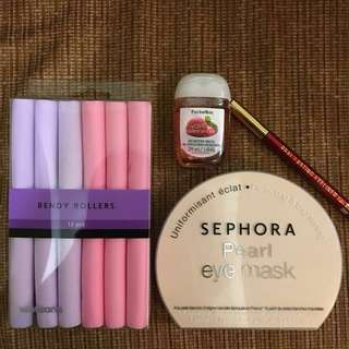 RUSH SALE! Kikay Set ❤️ Sephora Eye Mask with Bendy Rollers + Eyeliner + Hand Gel
