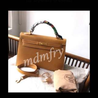 Hermes Kelly 32cm Sellier Gold white Stiching.