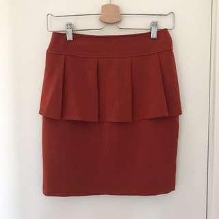 Burnt Orange Peplum Skirt
