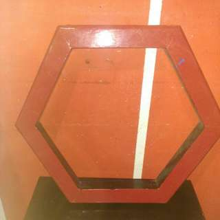 Ready stock Wall Deco Octagon frm HardWood Painted in Redfor