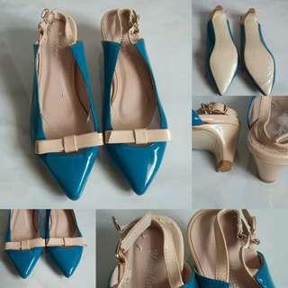 Code : Blue Cream Bow Heels Import