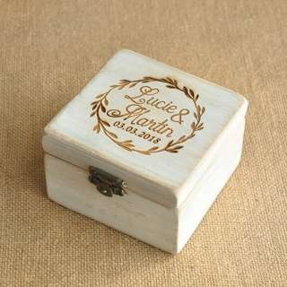 Personalised Wood Wedding Ring Box