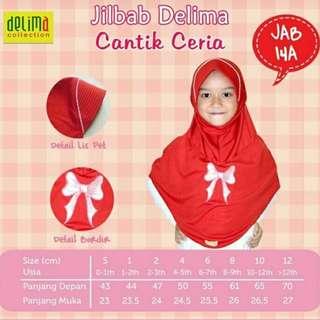 Jilbab Anak Delima JAB 14A Merah