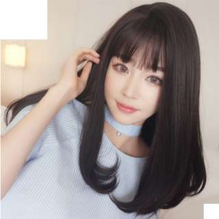 BEST-SELLING Korean Shoulder Length Side Part Air Fringe Full Wig For Daily Use (Ombre Brown/Natural Black/Chocolate Brown/Ombre Grey) With Black Roots