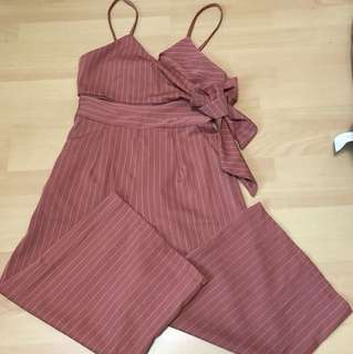 Dusty rose pinstriped 3/4 jumpsuit